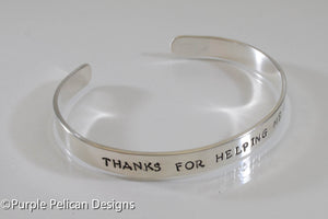 Teacher gift thanks for helping me grow sterling silver cuff bracelet hand stamped personalized jewelry purple pelican designs