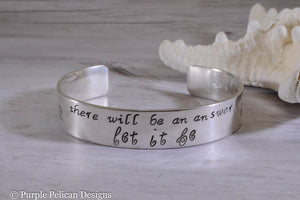 Beatles song lyric bracelet - There will be an answer let it be - Purple Pelican Designs