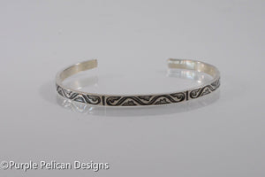 Sterling Silver Cuff Bracelet With a Tribal Pattern