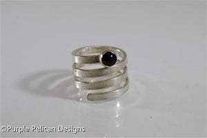 Sterling Silver Twisty Ring With Onyx Gemstone - Purple Pelican Designs
