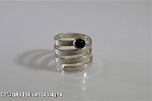 sterling silver adjustable wrap around twisty ring with onyx gemstone hand stamped personalized jewelry purple pelican designs