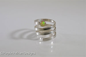 Sterling Silver Twisty Ring With Opal Gemstone - Purple Pelican Designs