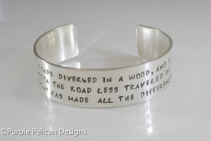 Robert Frost quote sterling silver cuff bracelet hand stamped The Road Not Traveled Personalized jewelry purple pelican designs