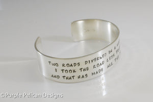 The Road Not Traveled Robert Frost Poem Cuff Bracelet - Purple Pelican Designs