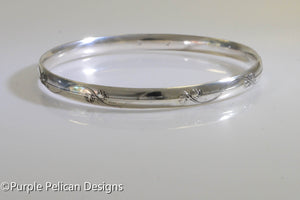 Sterling Silver Bangle - Vine and Leaf Design