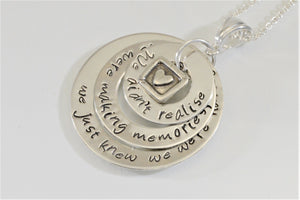 Winnie the Pooh quote Pendant necklace We didn't realise we were making memories hand stamped personalized jewelry purple pelican designs