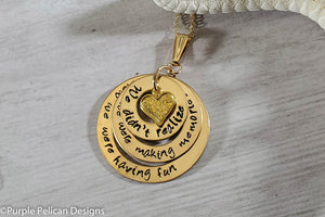 Pooh Friendship quote 14k gold filled pendant necklace we didn't realize we were making memories we just knew we were having fun purple pelican designs