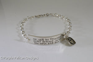 Pooh quote  Chain Bracelet - We will be friends until forever just you wait and see - Purple Pelican Designs