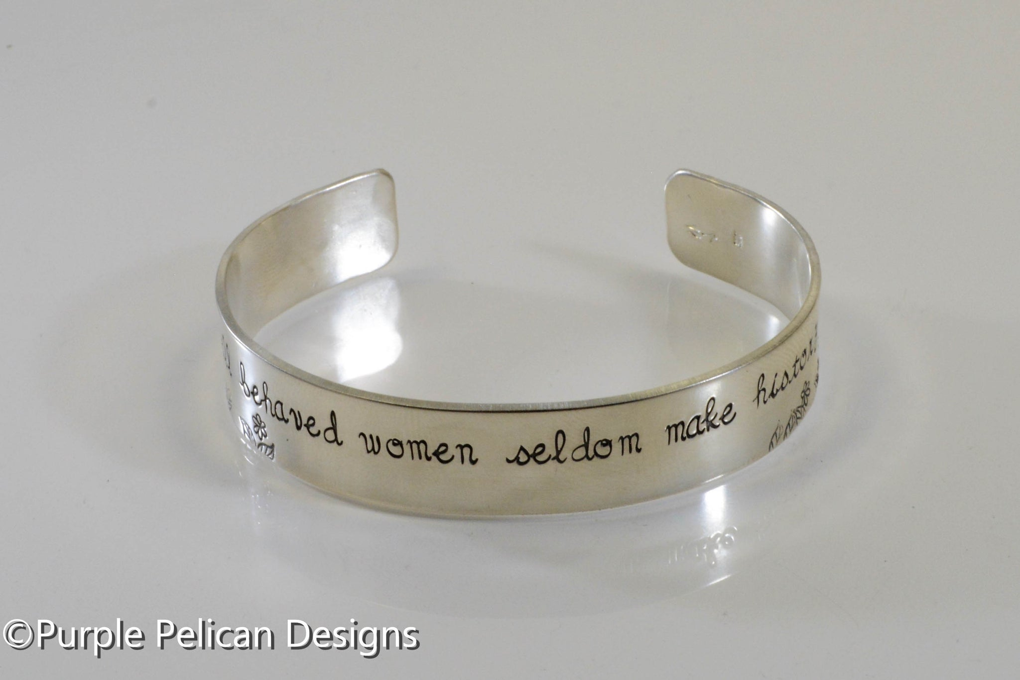 Well Behaved Women Rarely Make History Empowering Quote Leather Cuff Bracelet Hand Made Jewelry Metal Stamped Jewelry