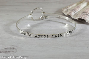 Where Words Fail Music Speaks -  Hinged Bangle Sterling Silver - Purple Pelican Designs