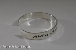 Song lyrics bracelet - Wrinkles will only go where the smiles have been - Purple Pelican Designs