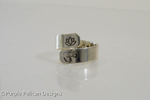 Sterling Silver Yoga ring - hand stamped - Purple Pelican Designs