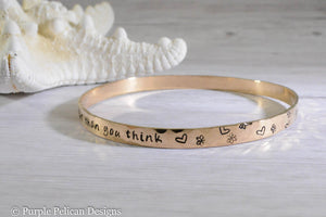 Pooh Quote Solid Gold Bangle - You Are Braver Than You Believe Stronger Than You Seem And Smarter Than You Think - Purple Pelican Designs