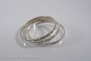 Sterling Silver Bangle Set - Pooh Quote - You are braver than you believe...
