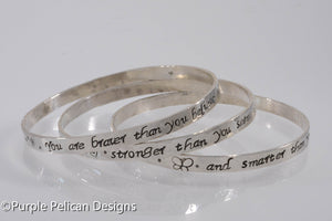 Sterling Silver Bangle Set - Pooh Quote - You are braver than you believe... - Purple Pelican Designs