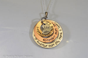 Gold Tri Color Necklace - You are braver than you believe, stronger than you seem...Pooh Quote Necklace - Purple Pelican Designs
