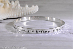 pooh quote sterling silver bangle bracelet you are braver than you believe stronger than you seem and smarter than you think hand stamped personalized jewelry purple pelican designs