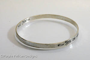 F---K CANCER Sterling Silver Bangle - You are stronger than you know - Purple Pelican Designs