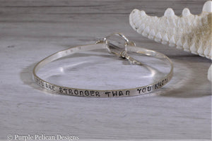 Sterling Silver Hinged Bangle - F**K Cancer You Are Stronger Than You Know - Purple Pelican Designs