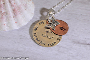 F---K CANCER necklace - You are stronger than you know - Purple Pelican Designs