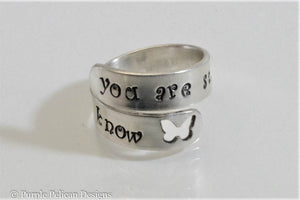 sterling silver wrap around ring you are stronger than you know hand stamped personalized jewelry purple pelican designs