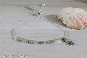 F--K Cancer You Got This Adjustable Sterling Silver Bracelet - Purple Pelican Designs
