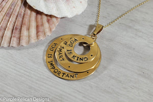 14k Gold Filled You is Kind, You is Smart, You is Important Pendant Necklace - Purple Pelican Designs