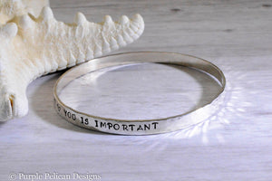You Is Kind You Is Smart You Is Important Sterling Silver Bangle - Purple Pelican Designs