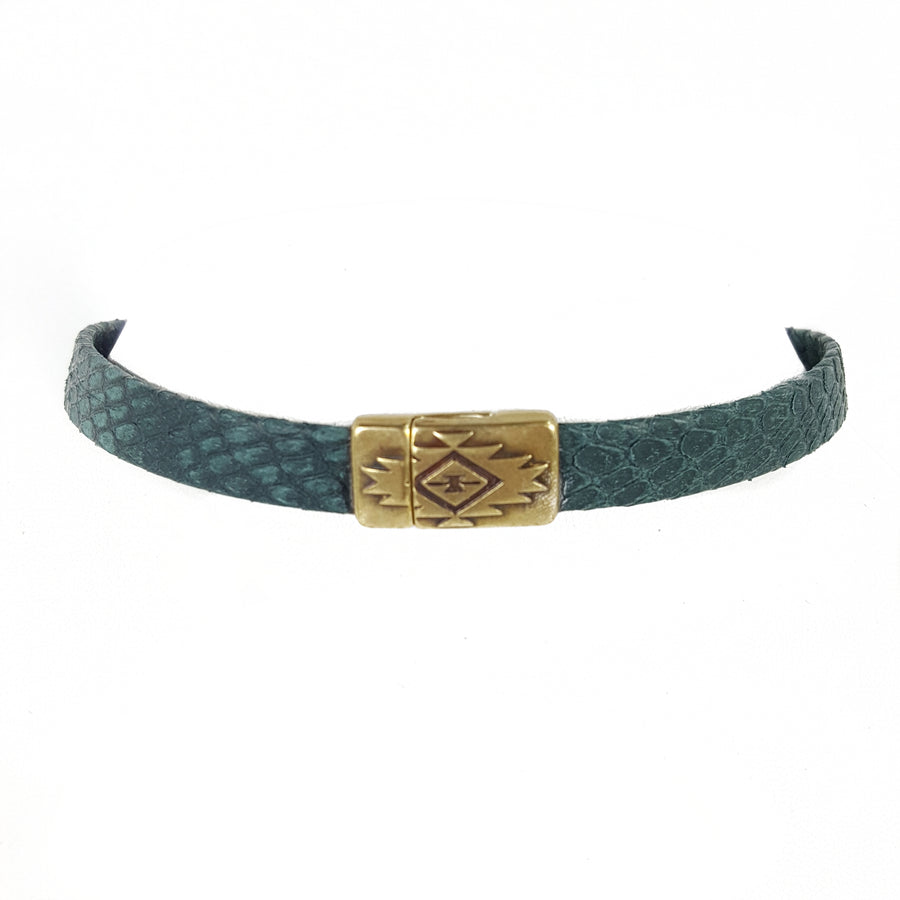 Deep Green Leather Choker Necklace