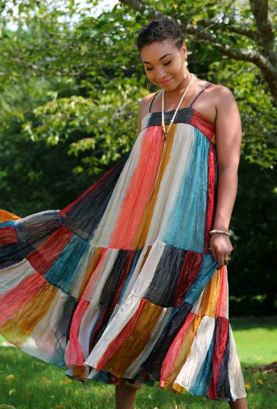 Multi Color Block Maxi Dress