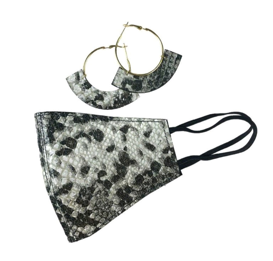 Croc Leather Mask and Earring Set