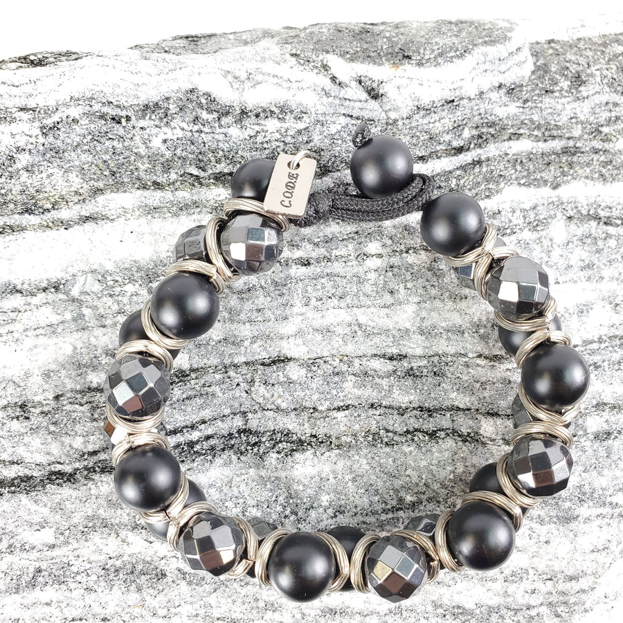 Smooth Onyx, Faceted Hematite, and Silver Accent Macramé Bracelet