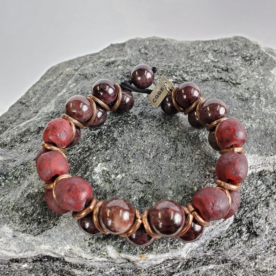 12mm Red Tiger's Eye and Copper Macramé Bracelet