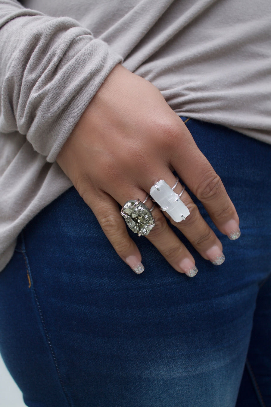 The Naomi Mica & Pyrite Ring Collection