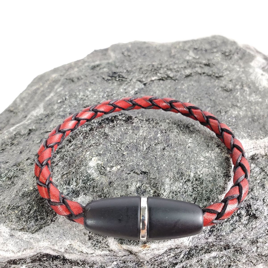 Red Italian Braided Leather Bracelet