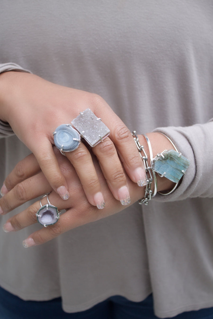 The Charline Flourite and Labradorite Cuff Collection