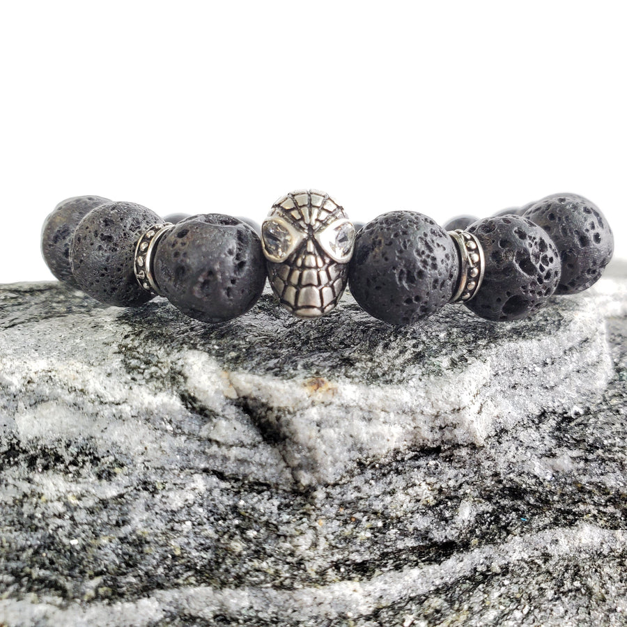 8mm Lava Rock Silver Spider Figure Stretch Bracelet