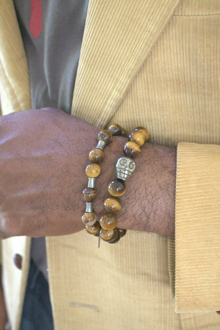 12mm Yellow Tiger's Eye with Pyrite Skull Stretch Bracelet
