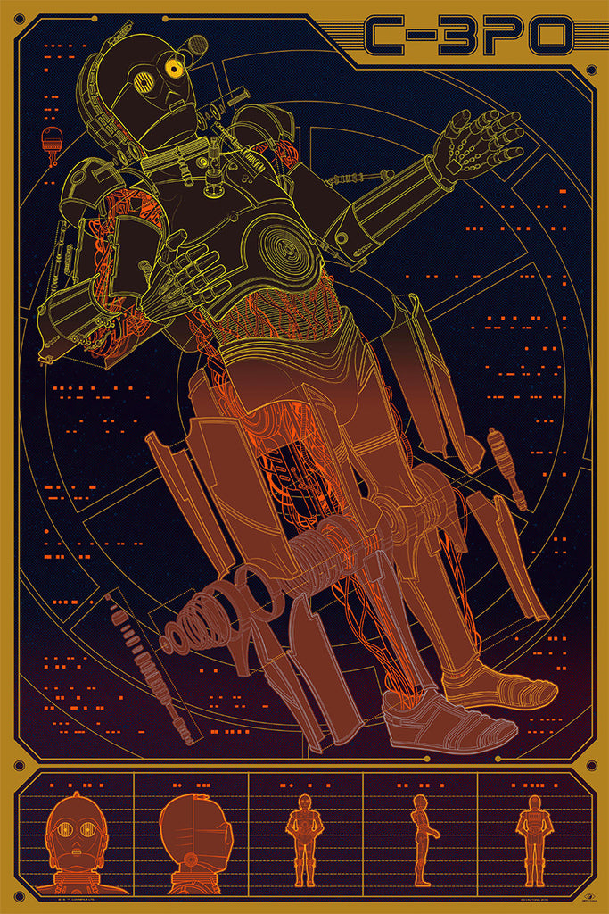 "New Release: ""C-3PO"", ""The Delorean"", ""The Batmobile"", ""Bullitt"", and ""Jaws"" InfoRama posters from Mondo"
