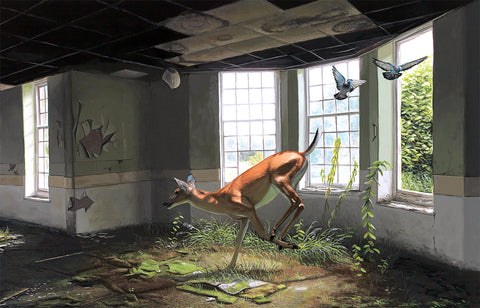 """Afternoon of a Faun"" by Josh Keyes. 12″ x 18″ Giclee. Timed edition. $55"
