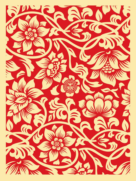 """Floral Takeover"" (Red/Cream) by Shepard Fairey"