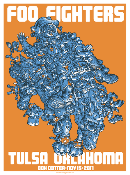 """Foo Fighters Tulsa 2017"" (Orange Variant) by Guy Burwell"