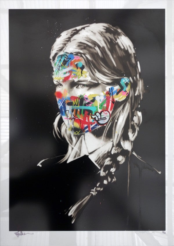 """La Cage et les deux âmes"" by Sandra Chevrier and Martin Whatson, Hand-finished by Martin Whatson, 7-color Screenprint on 4mm Clear Acrylic, Signed & Numbered Edition of 10, $1,350."