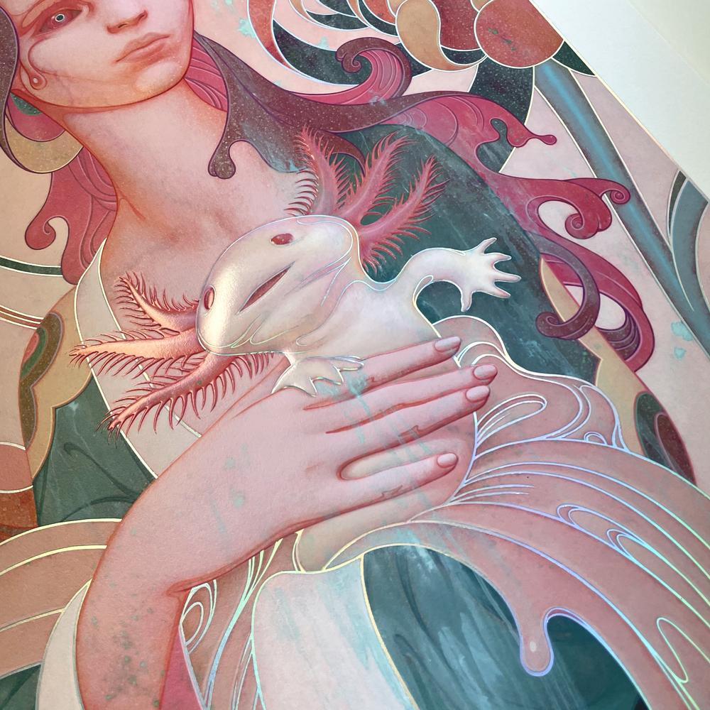 """""""Lady with an Axolotl"""" (Detail 2) by James Jean"""