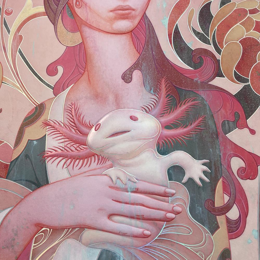 """""""Lady with an Axolotl"""" (Detail 3) by James Jean"""