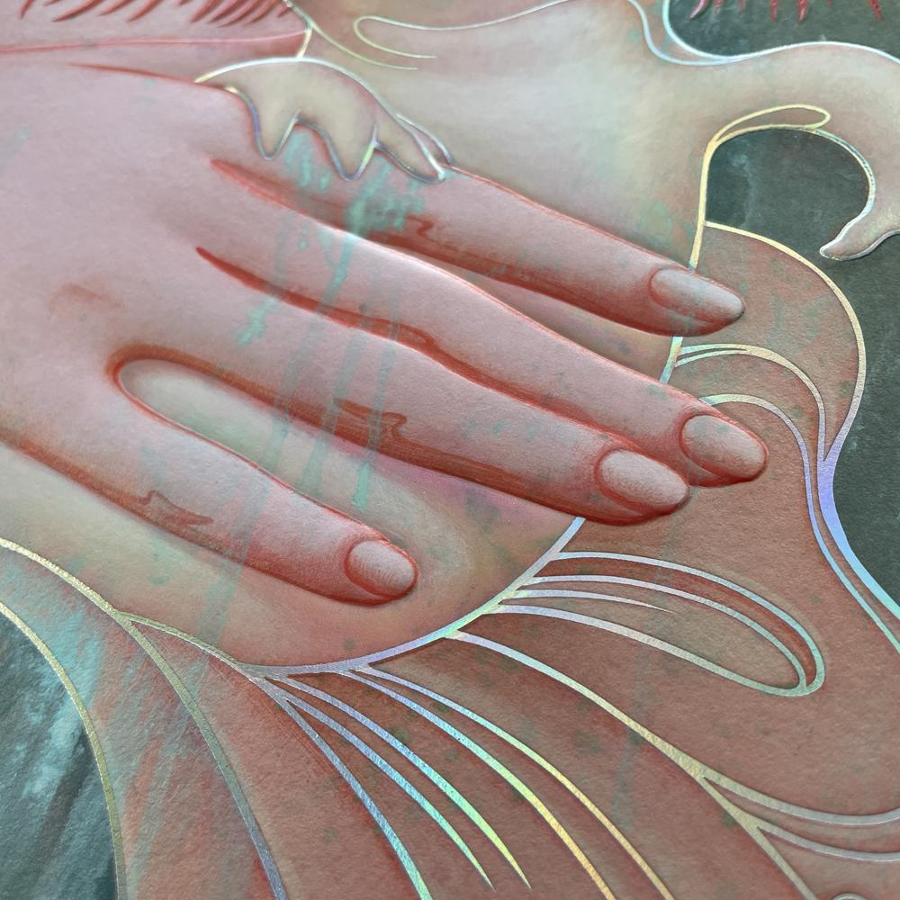 """""""Lady with an Axolotl"""" (Detail 5) by James Jean"""