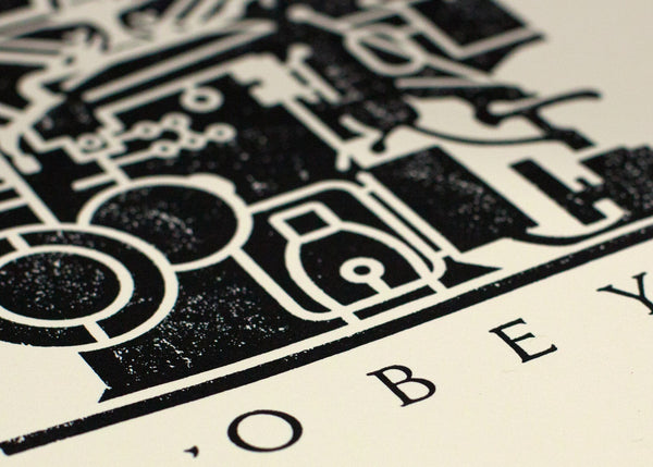 """Obey Printing Press"" (Detail 1) by Shepard Fairey"