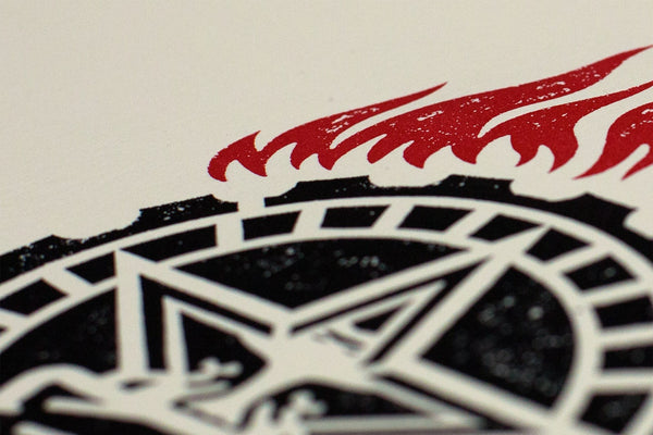 """Obey Printing Press"" (Detail 2) by Shepard Fairey"