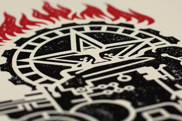 """Obey Printing Press"" (Detail 3) by Shepard Fairey"