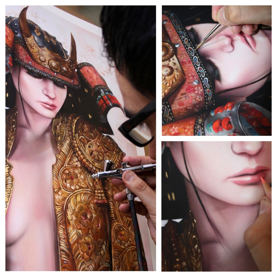 """""""The Lone Samurai"""" (Hand-Embellished Edition Detail 2) by Brian Viveros"""